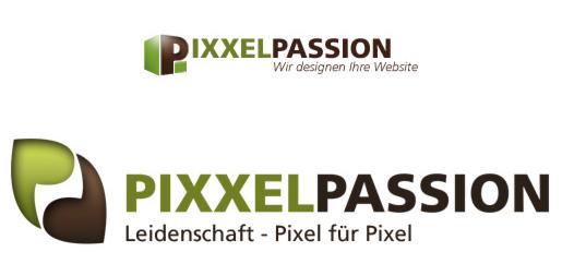 Neues und altes Logo von Pixxelpassion im Vergleich - Webdesign aus Leipzig