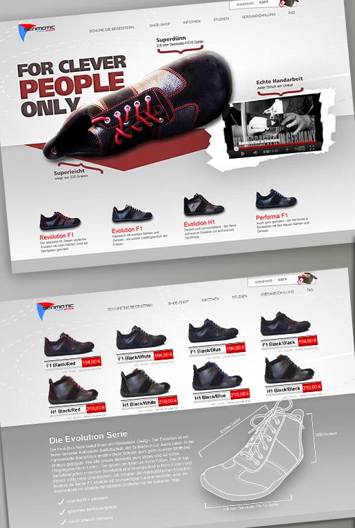 Die neue Internetseite von Senmotic Shoes - Webdienst Pixxelpassion