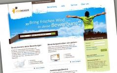 Die Startseite des Bewerberportals mit einem rundum frischen und luftigen Webdesign