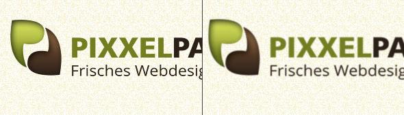 Vergleich von hochauflösender Retina-Webgrafik zu normaler Grafik